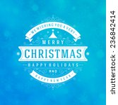 christmas retro typography and... | Shutterstock .eps vector #236842414