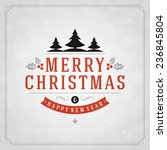 christmas retro typography and... | Shutterstock .eps vector #236845804