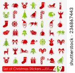 set of christmas stickers | Shutterstock .eps vector #236867443