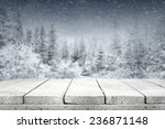 Wooden Old Table With Frost An...