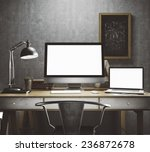 stylish workspace with computer ... | Shutterstock . vector #236872678