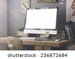 stylish workspace with computer ... | Shutterstock . vector #236872684