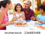 family eating meal at outdoor... | Shutterstock . vector #236885488