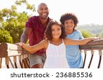 father with children on... | Shutterstock . vector #236885536