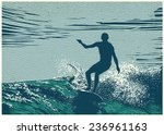 silhouette surfer and big wave. ... | Shutterstock .eps vector #236961163