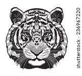 tiger psychedelic drawing | Shutterstock .eps vector #236967220