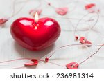 Red Burning Heart Shaped Candl...