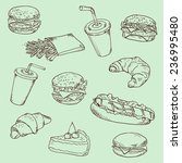 fast food   linear drawing. | Shutterstock . vector #236995480