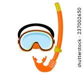 orange diving mask  diving tube ... | Shutterstock .eps vector #237002650