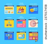 flat icons of digital marketing ... | Shutterstock .eps vector #237017458