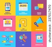 flat icons of digital marketing ...   Shutterstock .eps vector #237017470