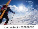 ski mountaineer walking up... | Shutterstock . vector #237020830