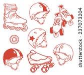 set of roller skates helmets... | Shutterstock .eps vector #237073204