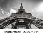 eiffel tower paris in black and ... | Shutterstock . vector #237074644