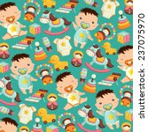 Stock vector baby toys background 237075970