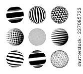 set of black abstract sphere.... | Shutterstock .eps vector #237085723