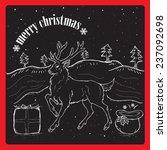 christmas  rain dear on snow | Shutterstock .eps vector #237092698