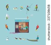 people in ski resort with... | Shutterstock .eps vector #237108658