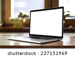 notebook with blank screen on... | Shutterstock . vector #237151969