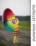 girl with rainbow umrella in...   Shutterstock . vector #237156703