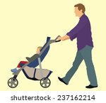 father pushing his child in... | Shutterstock .eps vector #237162214