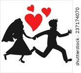 vector running holding hands... | Shutterstock .eps vector #237174070