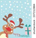 vector reindeer  red nose   ...   Shutterstock .eps vector #237212884