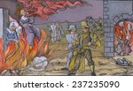 Three women executed as witches in Derneburg Germany in October 1555 Europeans began prosecuting suspected witches in the 14th century. 16th century woodcut with modern watercolor.