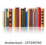 Books On White Background With...