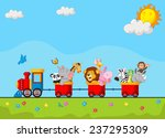 cute animal on train | Shutterstock .eps vector #237295309