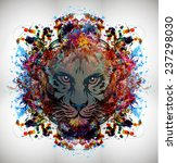 bloody tiger on abstract... | Shutterstock . vector #237298030
