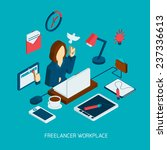 freelance workplace isometric... | Shutterstock .eps vector #237336613