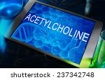 Small photo of the chemical formula of Acetylcholine on a tablet with test tubes
