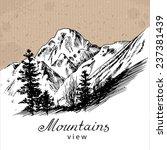 mountain landscape.  hand drawn ... | Shutterstock .eps vector #237381439