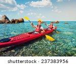 men sailing kayaking on the... | Shutterstock . vector #237383956