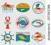 set of vintage sea food logos....   Shutterstock .eps vector #237391288
