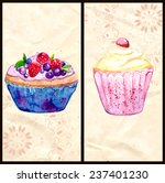 two menu cover layouts with... | Shutterstock .eps vector #237401230