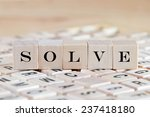 solve word background on wood... | Shutterstock . vector #237418180