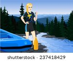 Vector Girl With Paddle And...