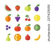 flat icons of different fruits | Shutterstock .eps vector #237425050