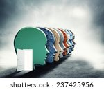many heads connected with a door | Shutterstock . vector #237425956