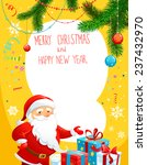 holiday poster with santa claus.... | Shutterstock .eps vector #237432970