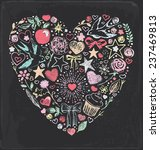 vintage chalk heart elements... | Shutterstock .eps vector #237469813
