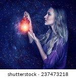 beautiful woman with magic...   Shutterstock . vector #237473218