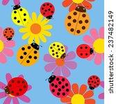 Seamless Ladybugs And Flowers...