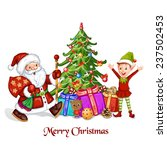 christmas greeting with santa... | Shutterstock .eps vector #237502453