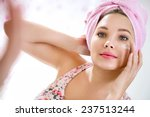 young girl front of mirror in... | Shutterstock . vector #237513244