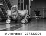woman push ups on the floor.gym ... | Shutterstock . vector #237523306
