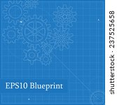 blueprint with drawn gears | Shutterstock .eps vector #237525658