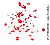 Stock photo rose petals falling on a surface on a white background isolated 237585568